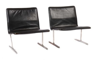Dieter Rams, Pair of leather armchairs, 1960s, design