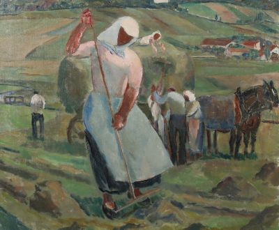 Albert Weisgerber, Feldarbeit, Heuernte, dated 1913, Modern Paintings