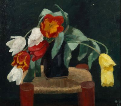 Hans Brühlmann, Tulpenstrauß, dated 1908, Modern Paintings