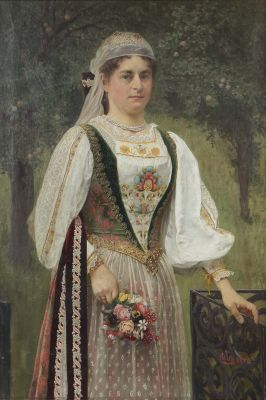 Frigyes Rudolf Friedrich Miess, Frau in Tracht, dated 1900, Paintings