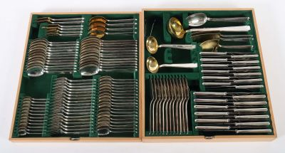 Extensive cutlery for at least 12 persons, Bruckmann & Söhne, middle of the 20th century, Silver