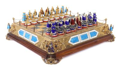 Pompous chess game, probably Hungary, Middle of the 20th century, SIlver