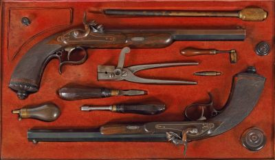 Duell pistol case, Georg K. Ross, Stuttgart, first half 19th century, weapons