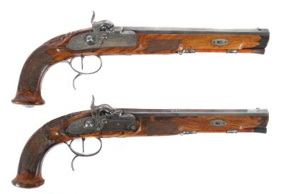 Percussion pistol pair, Gunsmith Bartholomäus Joseph Kuchenreuther, Regensburg, Middle of the 19th century, Weapons